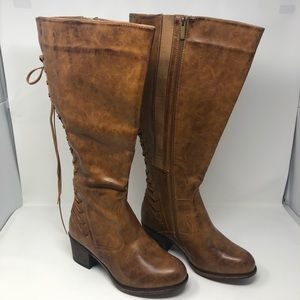 Torrid Brown Distressed Back Lace Up Knee Boot